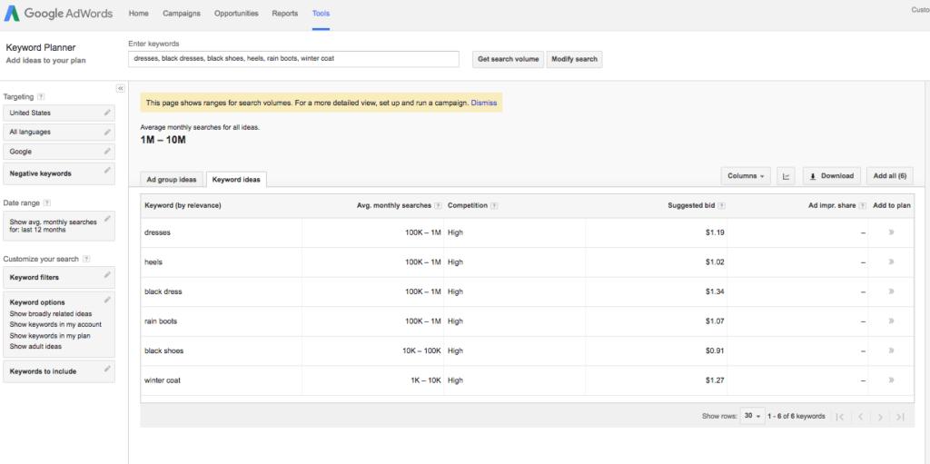 Google Keyword Planner Marketing tools